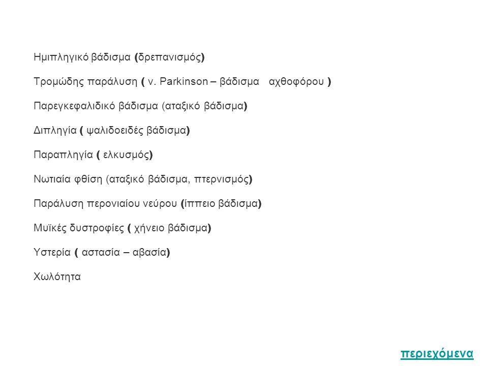 Ημιπληγικό βάδισμα ( δρεπανισμός ) Τρομώδης παράλυση ( ν.