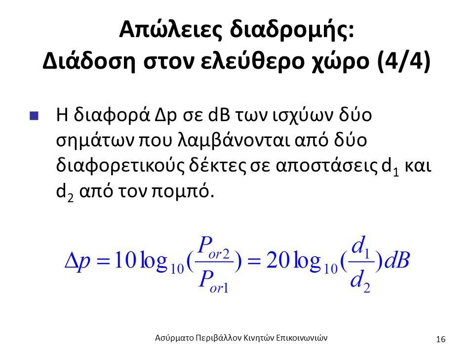 Απώλειες διαδρομής: Διάδοση στον ελεύθερο χώρο (4/4) Η διαφορά Δp σε dB των ισχύων δύο σημάτων που λαμβάνονται από δύο διαφορετικούς δέκτες σε αποστάσεις d 1 και d 2 από τον πομπό.