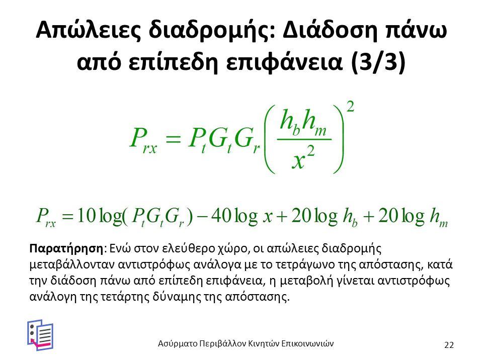Απώλειες διαδρομής: Διάδοση πάνω από επίπεδη επιφάνεια (3/3) Παρατήρηση: Ενώ στον ελεύθερο χώρο, οι απώλειες διαδρομής μεταβάλλονταν αντιστρόφως ανάλογα με το τετράγωνο της απόστασης, κατά την διάδοση πάνω από επίπεδη επιφάνεια, η μεταβολή γίνεται αντιστρόφως ανάλογη της τετάρτης δύναμης της απόστασης.