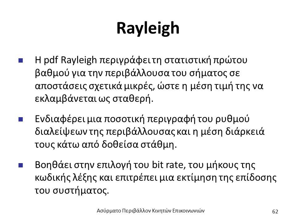 Rayleigh Η pdf Rayleigh περιγράφει τη στατιστική πρώτου βαθμού για την περιβάλλουσα του σήματος σε αποστάσεις σχετικά μικρές, ώστε η μέση τιμή της να εκλαμβάνεται ως σταθερή.