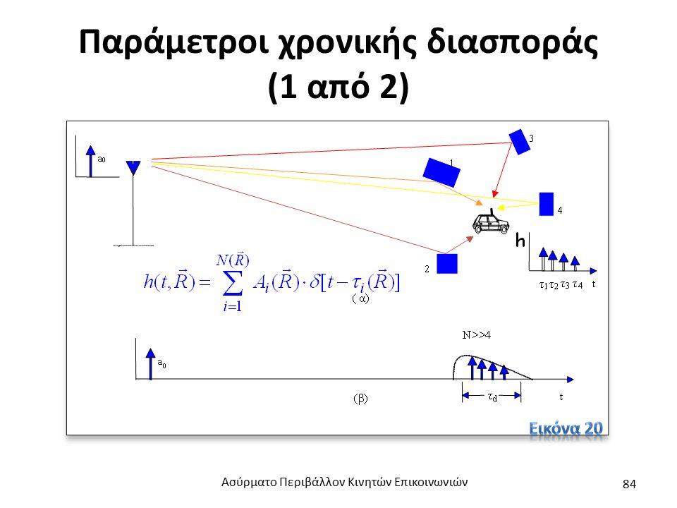 Παράμετροι χρονικής διασποράς (1 από 2) Ασύρματο Περιβάλλον Κινητών Επικοινωνιών 84