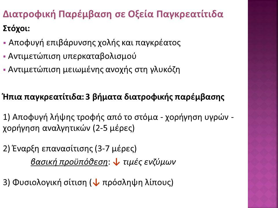 Διατροφική Παρέμβαση σε Οξεία Παγκρεατίτιδα Στόχοι:  Αποφυγή επιβάρυνσης χολής και παγκρέατος  Αντιμετώπιση υπερκαταβολισμού  Αντιμετώπιση μειωμένης ανοχής στη γλυκόζη Ήπια παγκρεατίτιδα: 3 βήματα διατροφικής παρέμβασης 1) Αποφυγή λήψης τροφής από το στόμα - χορήγηση υγρών - χορήγηση αναλγητικών (2-5 μέρες) 2) Έναρξη επανασίτισης (3-7 μέρες) βασική προϋπόθεση: ↓ τιμές ενζύμων 3) Φυσιολογική σίτιση (↓ πρόσληψη λίπους)