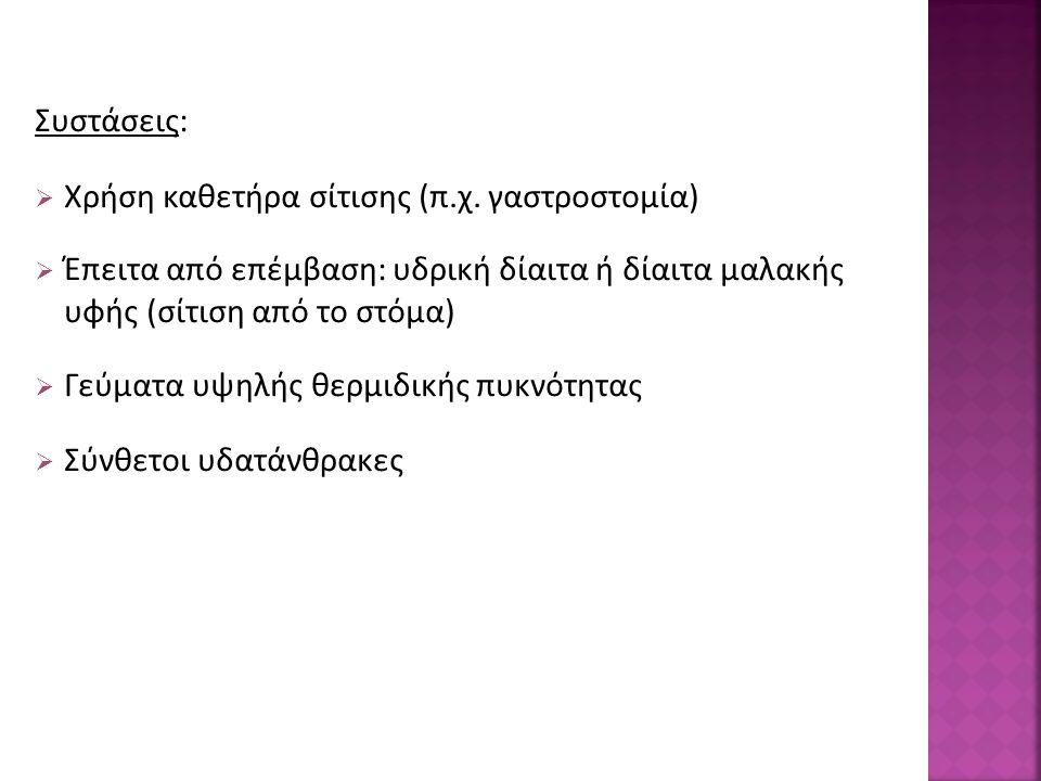 Συστάσεις:  Χρήση καθετήρα σίτισης (π.χ.