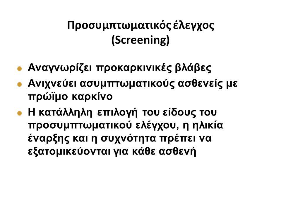 Προσυμπτωματικός έλεγχος (Screening) Αναγνωρίζει προκαρκινικές βλάβες Ανιχνεύει ασυμπτωματικούς ασθενείς με πρώϊμο καρκίνο Η κατάλληλη επιλογή του είδ