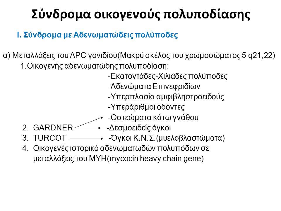 Σύνδρομα οικογενούς πολυποδίασης Ι. Σύνδρομα με Αδενωματώδεις πολύποδες α) Μεταλλάξεις του APC γονιδίου(Μακρύ σκέλος του χρωμοσώματος 5 q21,22) 1.Οικο
