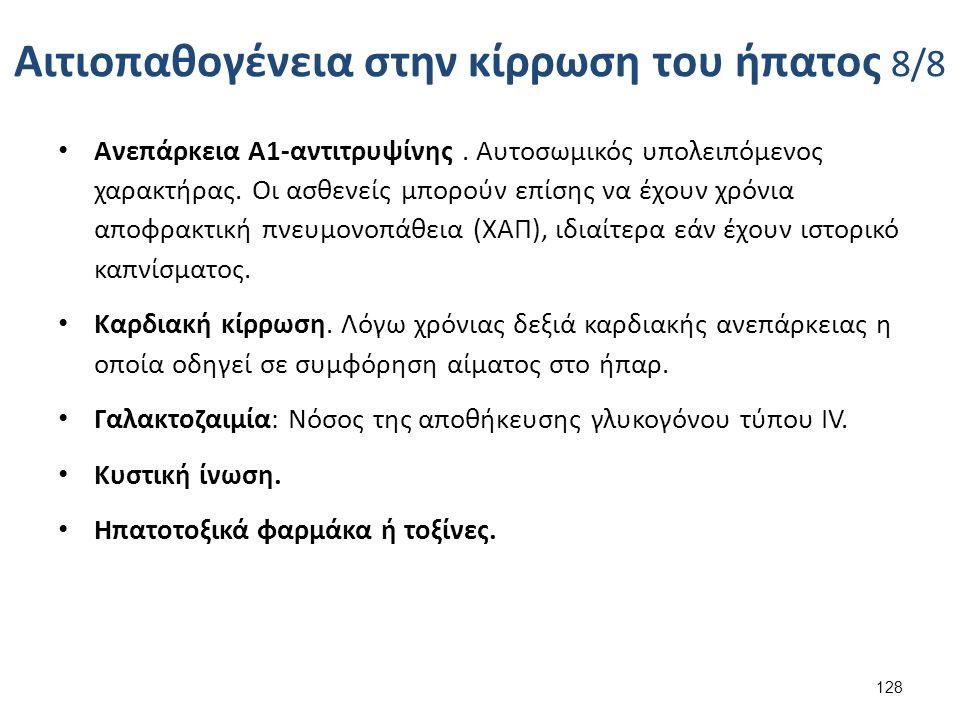 Αιτιοπαθογένεια στην κίρρωση του ήπατος 8/8 Ανεπάρκεια Α1-αντιτρυψίνης.