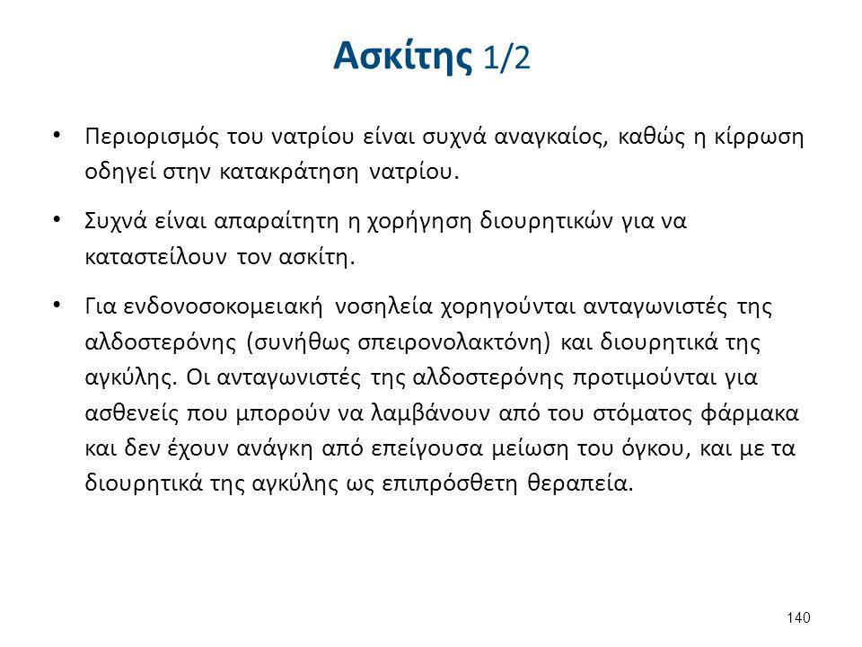 Ασκίτης 1/2 Περιορισμός του νατρίου είναι συχνά αναγκαίος, καθώς η κίρρωση οδηγεί στην κατακράτηση νατρίου.