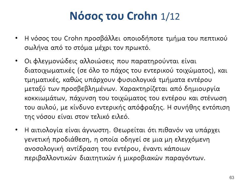 Νόσος του Crohn 1/12 Η νόσος του Crohn προσβάλλει οποιοδήποτε τμήμα του πεπτικού σωλήνα από το στόμα μέχρι τον πρωκτό.