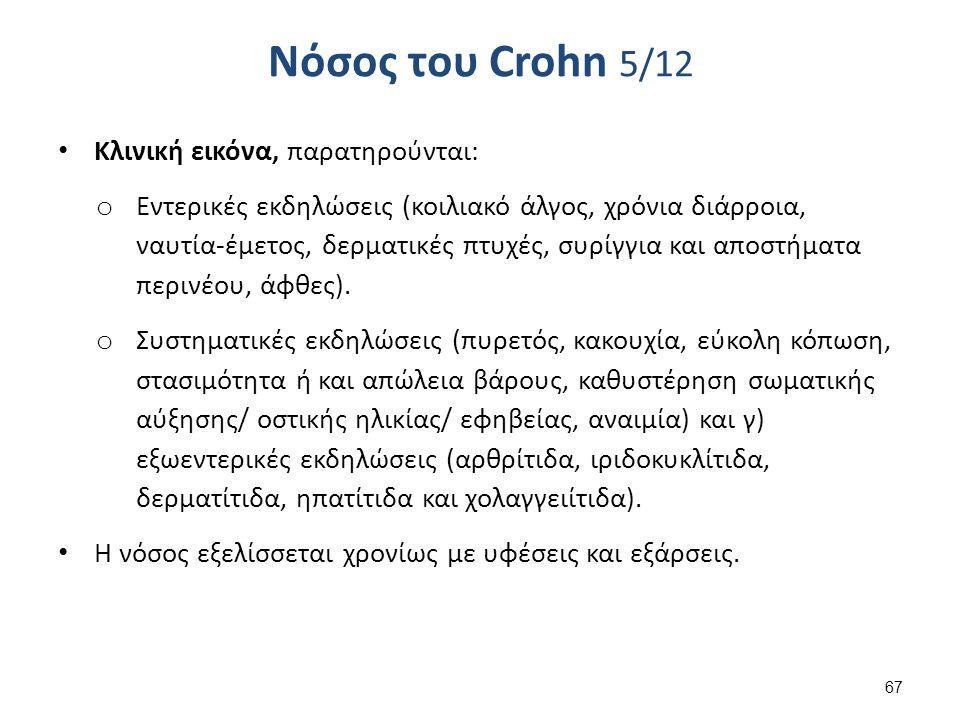 Νόσος του Crohn 5/12 Κλινική εικόνα, παρατηρούνται: o Εντερικές εκδηλώσεις (κοιλιακό άλγος, χρόνια διάρροια, ναυτία-έμετος, δερματικές πτυχές, συρίγγια και αποστήματα περινέου, άφθες).
