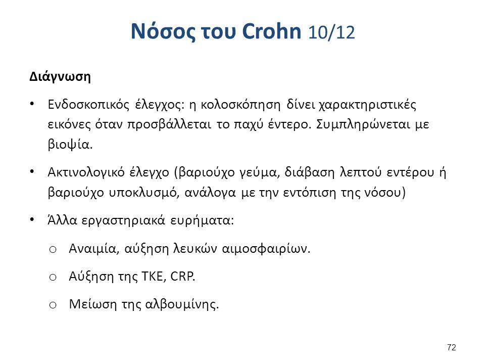 Νόσος του Crohn 10/12 Διάγνωση Ενδοσκοπικός έλεγχος: η κολοσκόπηση δίνει χαρακτηριστικές εικόνες όταν προσβάλλεται το παχύ έντερο.