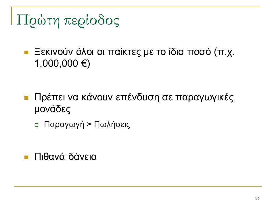 16 Πρώτη περίοδος Ξεκινούν όλοι οι παίκτες με το ίδιο ποσό (π.χ. 1,000,000 €) Πρέπει να κάνουν επένδυση σε παραγωγικές μονάδες  Παραγωγή > Πωλήσεις Π