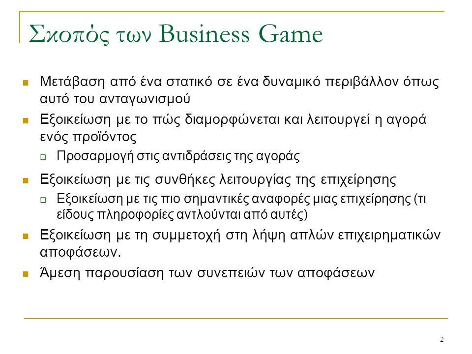 2 Σκοπός των Business Game Μετάβαση από ένα στατικό σε ένα δυναμικό περιβάλλον όπως αυτό του ανταγωνισμού Εξοικείωση με το πώς διαμορφώνεται και λειτουργεί η αγορά ενός προϊόντος  Προσαρμογή στις αντιδράσεις της αγοράς Εξοικείωση με τις συνθήκες λειτουργίας της επιχείρησης  Εξοικείωση με τις πιο σημαντικές αναφορές μιας επιχείρησης (τι είδους πληροφορίες αντλούνται από αυτές) Εξοικείωση με τη συμμετοχή στη λήψη απλών επιχειρηματικών αποφάσεων.