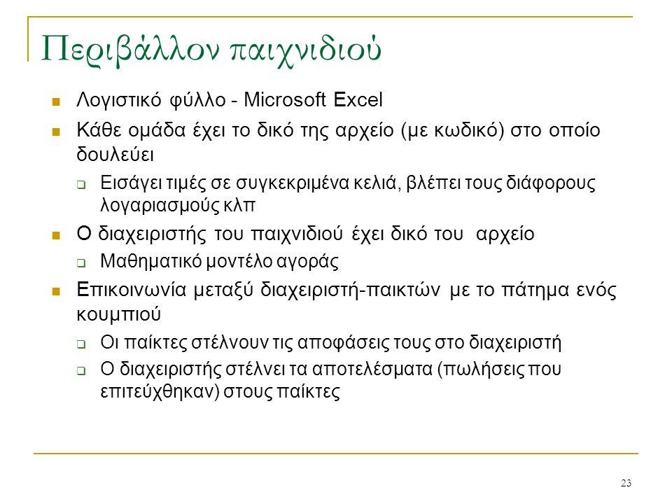 23 Περιβάλλον παιχνιδιού Λογιστικό φύλλο - Microsoft Excel Κάθε ομάδα έχει το δικό της αρχείο (με κωδικό) στο οποίο δουλεύει  Εισάγει τιμές σε συγκεκριμένα κελιά, βλέπει τους διάφορους λογαριασμούς κλπ Ο διαχειριστής του παιχνιδιού έχει δικό του αρχείο  Μαθηματικό μοντέλο αγοράς Επικοινωνία μεταξύ διαχειριστή-παικτών με το πάτημα ενός κουμπιού  Οι παίκτες στέλνουν τις αποφάσεις τους στο διαχειριστή  Ο διαχειριστής στέλνει τα αποτελέσματα (πωλήσεις που επιτεύχθηκαν) στους παίκτες