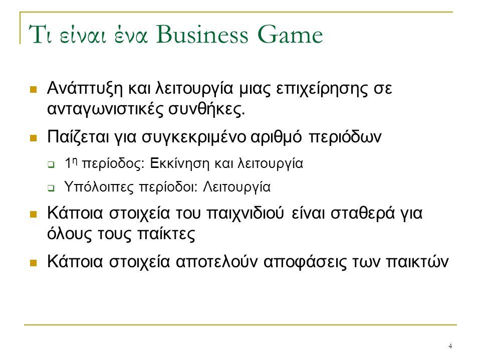 4 Τι είναι ένα Business Game Ανάπτυξη και λειτουργία μιας επιχείρησης σε ανταγωνιστικές συνθήκες. Παίζεται για συγκεκριμένο αριθμό περιόδων  1 η περί