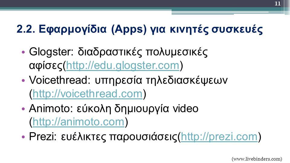 2.2. Εφαρμογίδια (Apps) για κινητές συσκευές Glogster: διαδραστικές πολυμεσικές αφίσες(http://edu.glogster.com)http://edu.glogster.com Voicethread: υπ