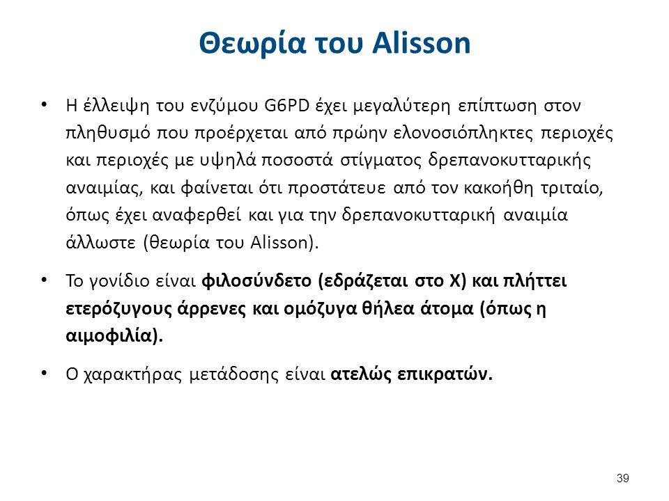 Θεωρία του Alisson Η έλλειψη του ενζύμου G6PD έχει μεγαλύτερη επίπτωση στον πληθυσμό που προέρχεται από πρώην ελονοσιόπληκτες περιοχές και περιοχές με
