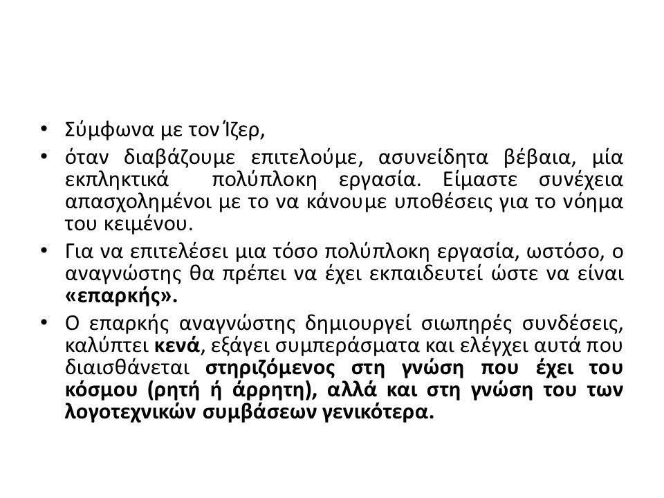 Σύμφωνα με τον Ίζερ, όταν διαβάζουμε επιτελούμε, ασυνείδητα βέβαια, μία εκπληκτικά πολύπλοκη εργασία.