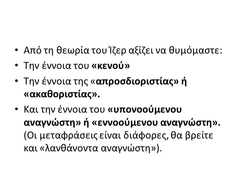 Από τη θεωρία του Ίζερ αξίζει να θυμόμαστε: Την έννοια του «κενού» Την έννοια της «απροσδιοριστίας» ή «ακαθοριστίας».