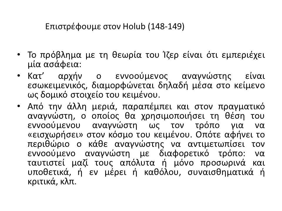 Επιστρέφουμε στον Holub (148-149) To πρόβλημα με τη θεωρία του Ίζερ είναι ότι εμπεριέχει μία ασάφεια: Κατ' αρχήν ο εννοούμενος αναγνώστης είναι εσωκειμενικός, διαμορφώνεται δηλαδή μέσα στο κείμενο ως δομικό στοιχείο του κειμένου.