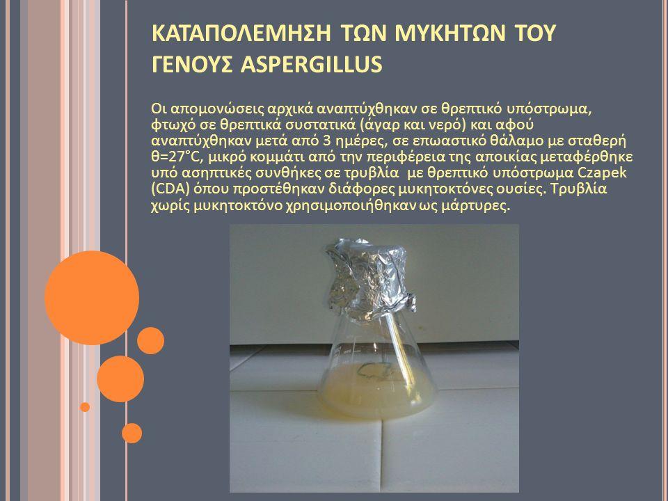 ΚΑΤΑΠΟΛΕΜΗΣΗ ΤΩΝ ΜΥΚΗΤΩΝ ΤΟΥ ΓΕΝΟΥΣ ASPERGILLUS Οι απομονώσεις αρχικά αναπτύχθηκαν σε θρεπτικό υπόστρωμα, φτωχό σε θρεπτικά συστατικά (άγαρ και νερό) και αφού αναπτύχθηκαν μετά από 3 ημέρες, σε επωαστικό θάλαμο με σταθερή θ=27°C, μικρό κομμάτι από την περιφέρεια της αποικίας μεταφέρθηκε υπό ασηπτικές συνθήκες σε τρυβλία με θρεπτικό υπόστρωμα Czapek (CDA) όπου προστέθηκαν διάφορες μυκητοκτόνες ουσίες.