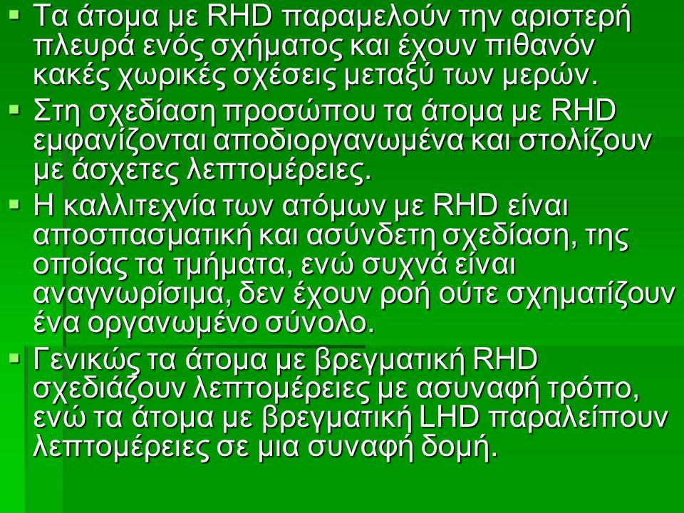  Tα άτομα με RHD παραμελούν την αριστερή πλευρά ενός σχήματος και έχουν πιθανόν κακές χωρικές σχέσεις μεταξύ των μερών.