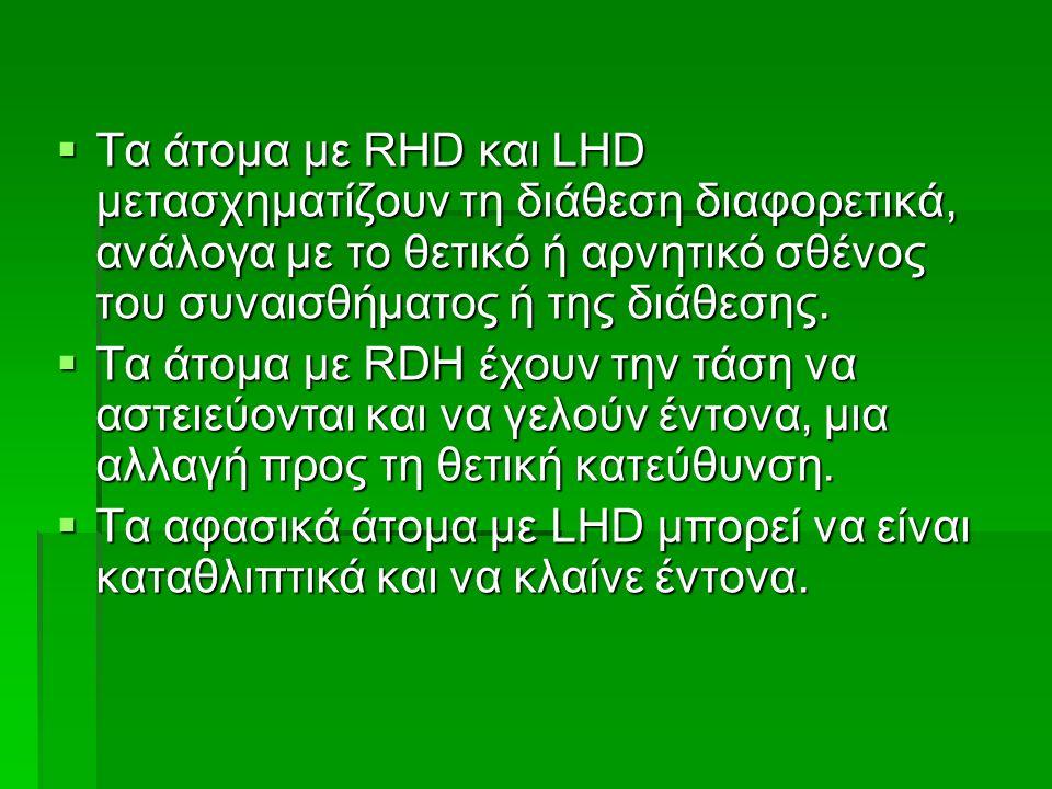  Τα άτομα με RHD και LHD μετασχηματίζουν τη διάθεση διαφορετικά, ανάλογα με το θετικό ή αρνητικό σθένος του συναισθήματος ή της διάθεσης.