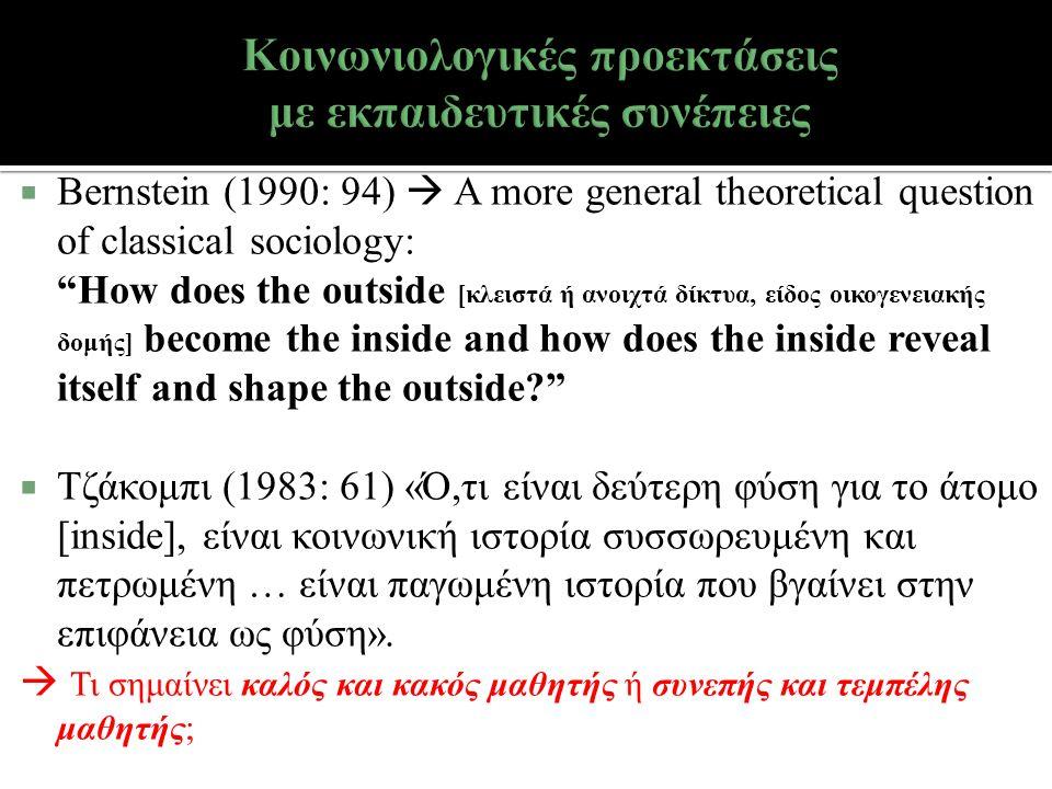  Bernstein (1990: 94)  A more general theoretical question of classical sociology: How does the outside [κλειστά ή ανοιχτά δίκτυα, είδος οικογενειακής δομής] become the inside and how does the inside reveal itself and shape the outside  Τζάκομπι (1983: 61) «Ό,τι είναι δεύτερη φύση για το άτομο [inside], είναι κοινωνική ιστορία συσσωρευμένη και πετρωμένη … είναι παγωμένη ιστορία που βγαίνει στην επιφάνεια ως φύση».