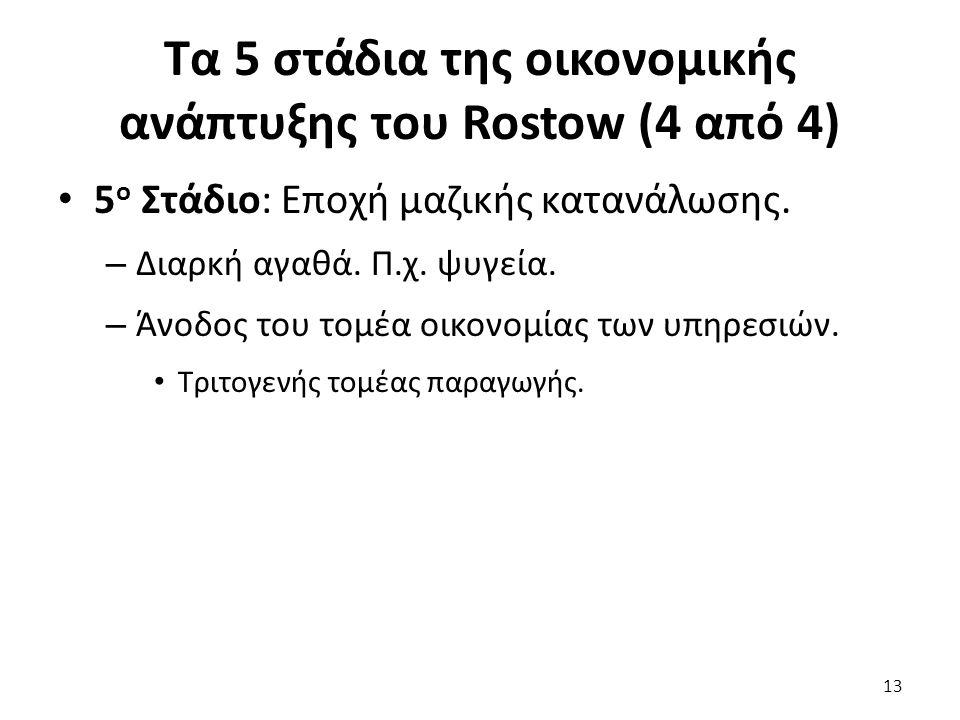 Τα 5 στάδια της οικονομικής ανάπτυξης του Rostow (4 από 4) 5 ο Στάδιο: Εποχή μαζικής κατανάλωσης. – Διαρκή αγαθά. Π.χ. ψυγεία. – Άνοδος του τομέα οικο