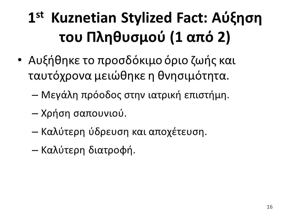 1 st Kuznetian Stylized Fact: Αύξηση του Πληθυσμού (1 από 2) Αυξήθηκε το προσδόκιμο όριο ζωής και ταυτόχρονα μειώθηκε η θνησιμότητα.