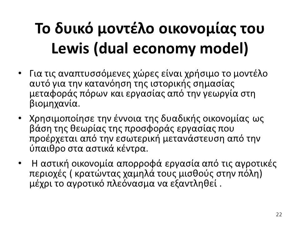 Το δυικό μοντέλο οικονομίας του Lewis (dual economy model) Για τις αναπτυσσόμενες χώρες είναι χρήσιμο το μοντέλο αυτό για την κατανόηση της ιστορικής σημασίας μεταφοράς πόρων και εργασίας από την γεωργία στη βιομηχανία.