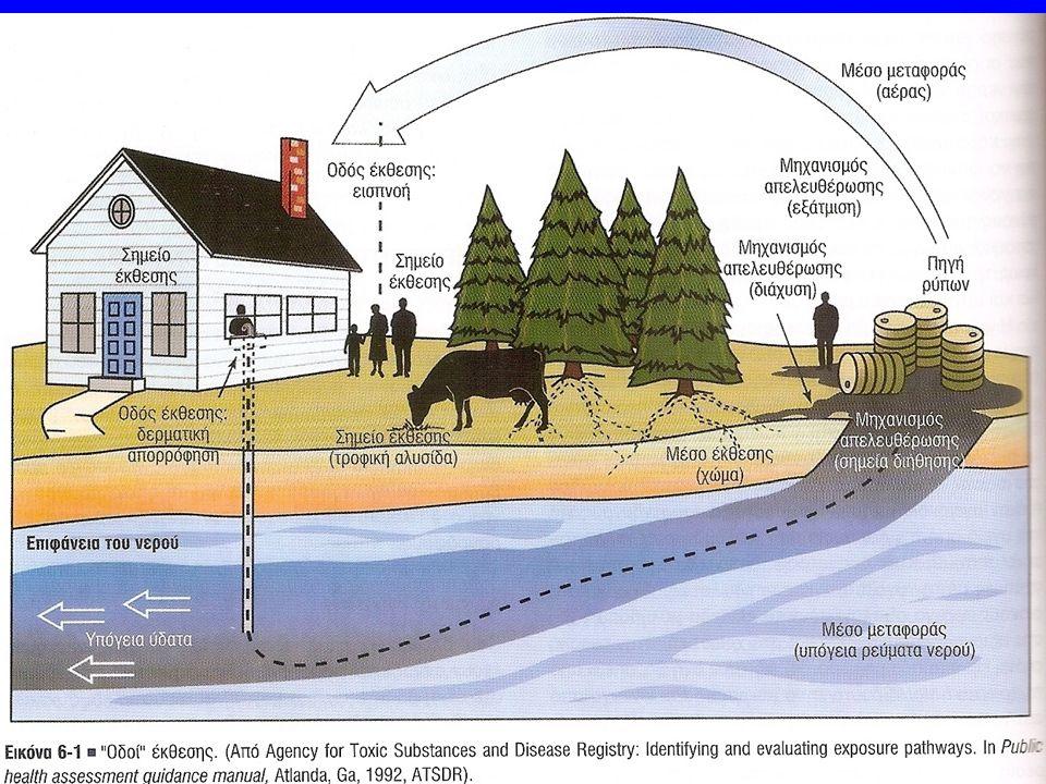 Κατηγορίες περιβαλλοντικών κινδύνων  θόρυβος  δονήσεις  ιονίζουσα ακτινοβολία  μη ιονίζουσα ακτινοβολία  θερμότητα  κρύο  βαρομετρικές αλλαγές  σκόνες  καπνοί  αέρια  ατμοί  αναθυμιάσεις  ίνες  υγρά  έντομα  ζωϋφια  μύκητες  βακτηρίδια  ιοί  συναισθηματική κατάσταση  εντατική εργασία  μονοτονία  βάρδιες  επαναλαμβανόμενες διαδικασίας  φωτισμός, χρώματα, ορατότητα