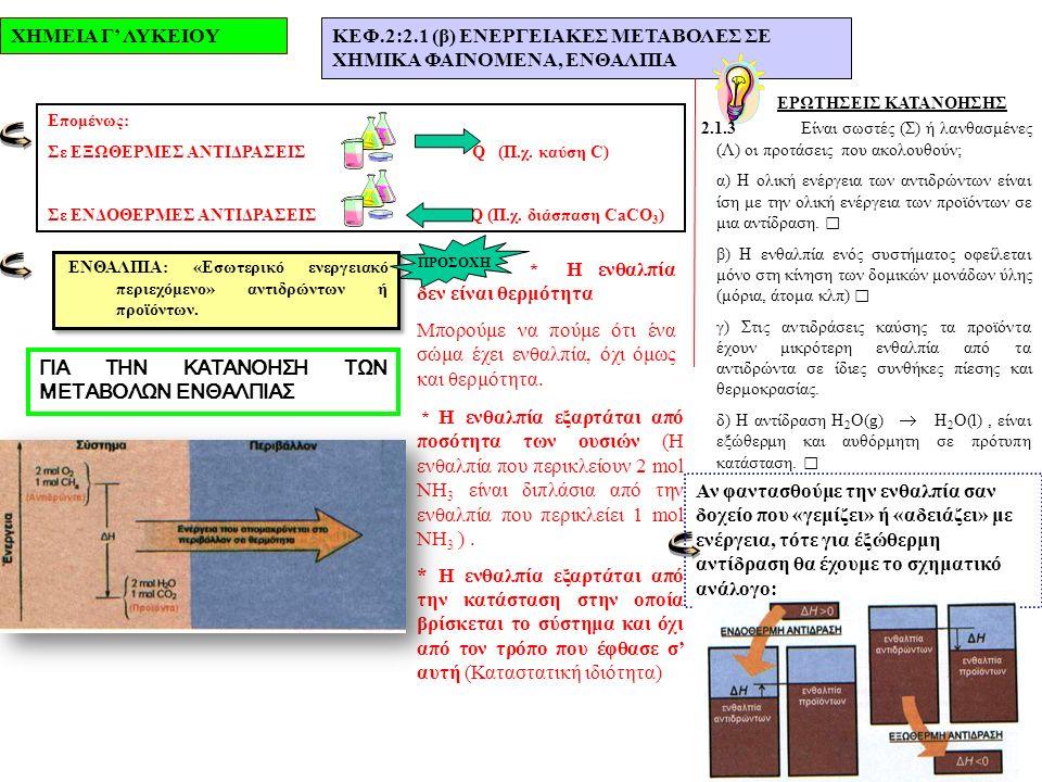 ΧΗΜΕΙΑ Γ' ΛΥΚΕΙΟΥΚΕΦ.2:2.1 (β) ΕΝΕΡΓΕΙΑΚΕΣ ΜΕΤΑΒΟΛΕΣ ΣΕ ΧΗΜΙΚΑ ΦΑΙΝΟΜΕΝΑ, ΕΝΘΑΛΠΙΑ ΕΡΩΤΗΣΕΙΣ ΚΑΤΑΝΟΗΣΗΣ 2.1.3Είναι σωστές (Σ) ή λανθασμένες (Λ) οι προτάσεις που ακολουθούν; α) Η ολική ενέργεια των αντιδρώντων είναι ίση με την ολική ενέργεια των προϊόντων σε μια αντίδραση.