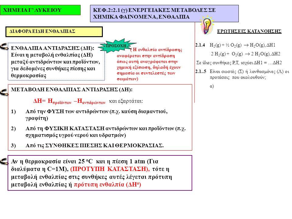ΧΗΜΕΙΑ Γ' ΛΥΚΕΙΟΥΚΕΦ.2:2.1 (γ) ΕΝΕΡΓΕΙΑΚΕΣ ΜΕΤΑΒΟΛΕΣ ΣΕ ΧΗΜΙΚΑ ΦΑΙΝΟΜΕΝΑ, ΕΝΘΑΛΠΙΑ ΕΡΩΤΗΣΕΙΣ ΚΑΤΑΝΟΗΣΗΣ 2.1.4Η 2 (g) + ½ O 2 (g)  H 2 O(g), ΔΗ1 2 Η 2 (g) + O 2 (g)  2 H 2 O(g), ΔΗ2 Σε ίδιες συνθήκες P,T, ισχύει ΔΗ1 = …ΔΗ2 2.1..5Είναι σωστές (Σ) ή λανθασμένες (Λ) οι προτάσεις που ακολουθούν; α) ΔΙΑΦΟΡΑ ΕΙΔΗ ΕΝΘΑΛΠΙΑΣ ΕΝΘΑΛΠΙΑ ΑΝΤΙΔΡΑΣΗΣ (ΔΗ): Είναι η μεταβολή ενθαλπίας (ΔΗ) μεταξύ αντιδρώντων και προϊόντων, για δεδομένες συνθήκες πίεσης και θερμοκρασίας ΜΕΤΑΒΟΛΗ ΕΝΘΑΛΠΙΑΣ ΑΝΤΙΔΡΑΣΗΣ (ΔΗ): ΔΗ= Η προϊόντων –Η αντιδρώντων και εξαρτάται: 1)Από την ΦΥΣΗ των αντιδρώντων (π.χ.