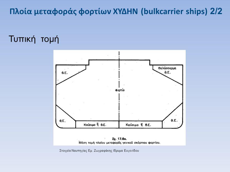 Πλοία μεταφοράς φορτίων ΧΥΔΗΝ (bulkcarrier ships) 2/2 Τυπική τομή Στοιχεία Ναυπηγίας Εμ. Ζωγραφάκης Ιδρυμα Ευγενίδου