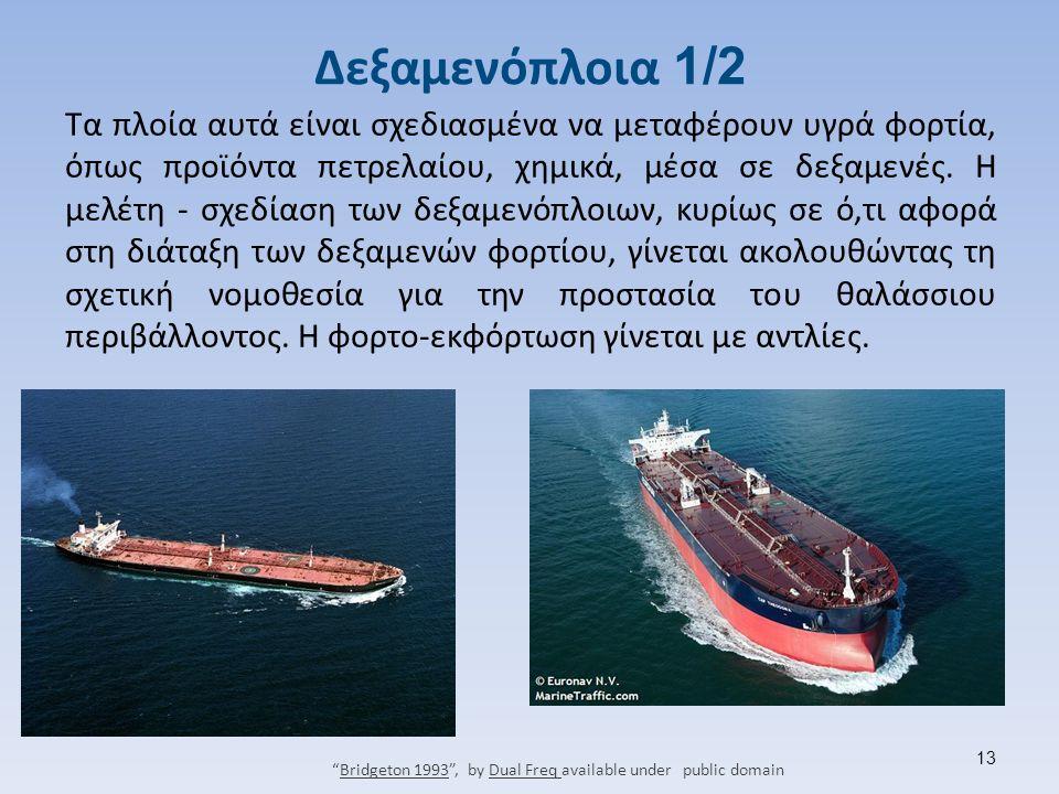 Δεξαμενόπλοια 1/2 Τα πλοία αυτά είναι σχεδιασμένα να μεταφέρουν υγρά φορτία, όπως προϊόντα πετρελαίου, χημικά, μέσα σε δεξαμενές.