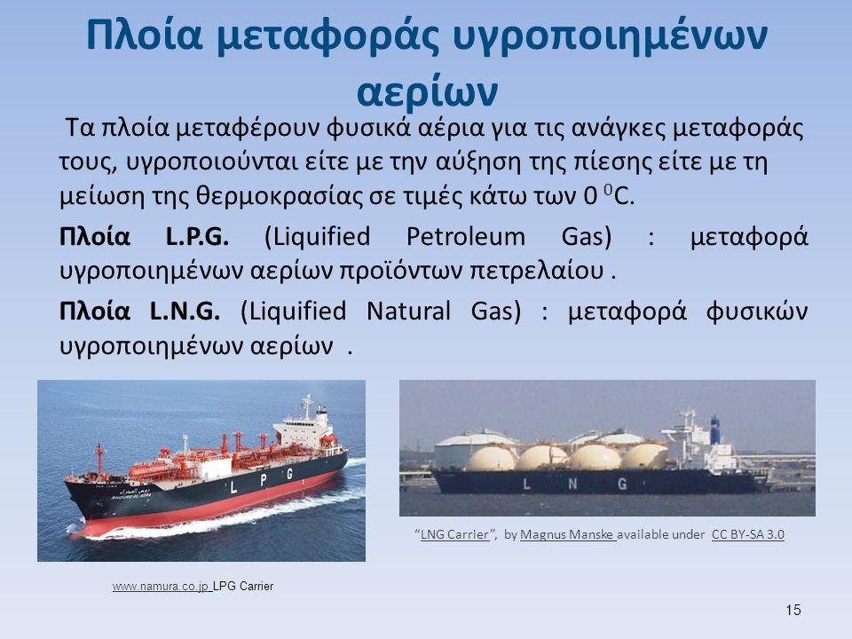 Πλοία μεταφοράς υγροποιημένων αερίων Τα πλοία μεταφέρουν φυσικά αέρια για τις ανάγκες μεταφοράς τους, υγροποιούνται είτε με την αύξηση της πίεσης είτε