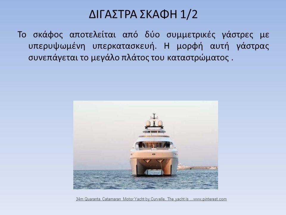 ΔΙΓΑΣΤΡΑ ΣΚΑΦΗ 1/2 Το σκάφος αποτελείται από δύο συμμετρικές γάστρες με υπερυψωμένη υπερκατασκευή. Η μορφή αυτή γάστρας συνεπάγεται το μεγάλο πλάτος τ