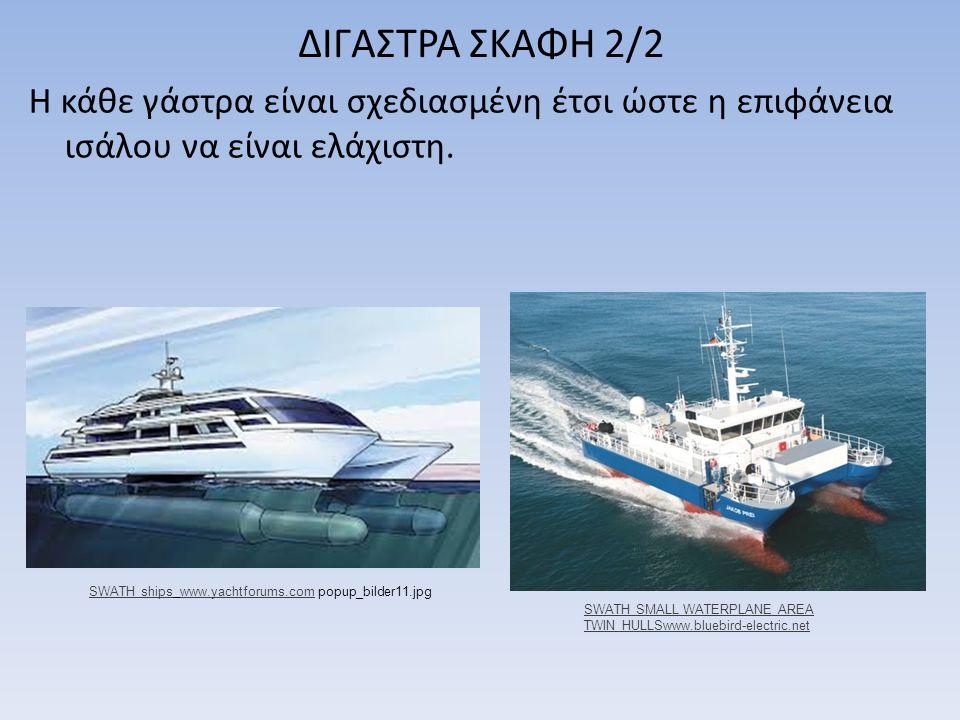 ΔΙΓΑΣΤΡΑ ΣΚΑΦΗ 2/2 Η κάθε γάστρα είναι σχεδιασμένη έτσι ώστε η επιφάνεια ισάλου να είναι ελάχιστη. SWATH shipsSWATH ships www.yachtforums.com popup_bi