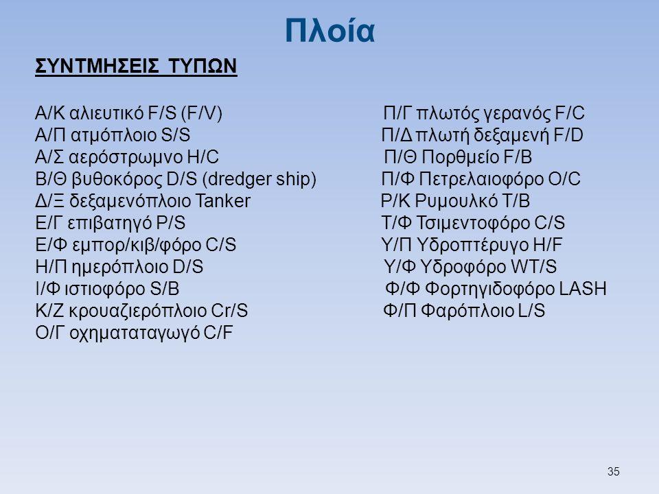 Πλοία ΣΥΝΤΜΗΣΕΙΣ ΤΥΠΩΝ Α/Κ αλιευτικό F/S (F/V) Π/Γ πλωτός γερανός F/C Α/Π ατμόπλοιο S/S Π/Δ πλωτή δεξαμενή F/D Α/Σ αερόστρωμνο H/C Π/Θ Πορθμείο F/B Β/Θ βυθοκόρος D/S (dredger ship) Π/Φ Πετρελαιοφόρο O/C Δ/Ξ δεξαμενόπλοιο Tanker Ρ/Κ Ρυμουλκό T/B Ε/Γ επιβατηγό P/S Τ/Φ Τσιμεντοφόρο C/S Ε/Φ εμπορ/κιβ/φόρο C/S Υ/Π Υδροπτέρυγο H/F Η/Π ημερόπλοιο D/S Υ/Φ Υδροφόρο WT/S Ι/Φ ιστιοφόρο S/B Φ/Φ Φορτηγιδοφόρο LASH Κ/Ζ κρουαζιερόπλοιο Cr/S Φ/Π Φαρόπλοιο L/S Ο/Γ οχηματαταγωγό C/F 35