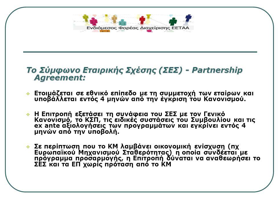 Προγραμματισμός – Επιχειρησιακά Προγράμματα Τα Επιχειρησιακά Προγράμματα (ΕΠ)  Υποβάλλονται 3 μήνες μετά την έγκριση του Συμφώνου Εταιρικής Σχέσης (ΣΕΣ) - Partnership Agreement  Εξειδικεύουν τη συνεισφορά των συγκεκριμένων παρεμβάσεων στη στρατηγική της ΕΕ για έξυπνη, βιώσιμη ανάπτυξη χωρίς αποκλεισμούς  Περιλαμβάνουν τις απαραίτητες πληροφορίες για τις θεματικές προτεραιότητες, κατανομή των διαθέσιμων πόρων, διαδικασίες υλοποίησης και μείωσης της επιβάρυνσης των δικαιούχων.