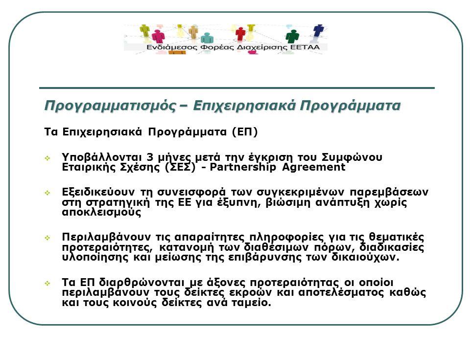 Στρατηγική Προσέγγιση –11 Θεματικοί Στόχοι για την επίτευξη των στόχων της Ευρώπης 2020  Ενίσχυση της έρευνας, της τεχνολογικής ανάπτυξης και της καινοτομίας  Ενίσχυση της πρόσβασης, και χρήσης και ποιότητας, των τεχνολογιών πληροφορικής και επικοινωνίας  Ενίσχυση της ανταγωνιστικότητας των μικρών και μεσαίων επιχειρήσεων, του γεωργικού τομέα (για το ΕΓΤΑΑ), και της αλιείας και των υδατοκαλλιεργειών (για το Ταμείο Αλιείας)  Ενίσχυση της μετάβασης προς την οικονομία χαμηλών εκπομπών διοξειδίου του άνθρακα σε όλους τους τομείς  Προώθηση της προσαρμογής στις κλιματικές αλλαγές, της πρόληψης και της διαχείρισης του κινδύνου  Προστασία του περιβάλλοντος και προώθηση της αποδοτικότητας των πόρων  Προώθηση των βιώσιμων μεταφορών και απομάκρυνση των σημείων συμφόρησης σε σημαντικά δίκτυα υποδομών  Προώθηση της απασχόλησης και υποστήριξη της κινητικότητας των εργαζομένων  Προώθηση της κοινωνικής ένταξης και της καταπολέμησης της φτώχειας  Επένδυση στην εκπαίδευση, τις δεξιότητες και στη δια βίου μάθηση  Βελτίωση της θεσμικής επάρκειας και της αποτελεσματικής δημόσιας διοίκησης