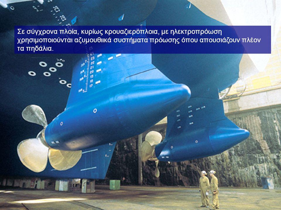 Σε σύγχρονα πλοία, κυρίως κρουαζιερόπλοια, με ηλεκτροπρόωση χρησιμοποιούνται αζυμουθιικά συστήματα πρόωσης όπου απουσιάζουν πλέον τα πηδάλια.
