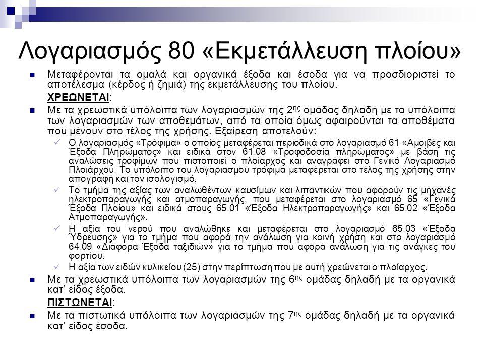 Λογαριασμός 80 «Εκμετάλλευση πλοίου» Μεταφέρονται τα ομαλά και οργανικά έξοδα και έσοδα για να προσδιοριστεί το αποτέλεσμα (κέρδος ή ζημιά) της εκμετάλλευσης του πλοίου.