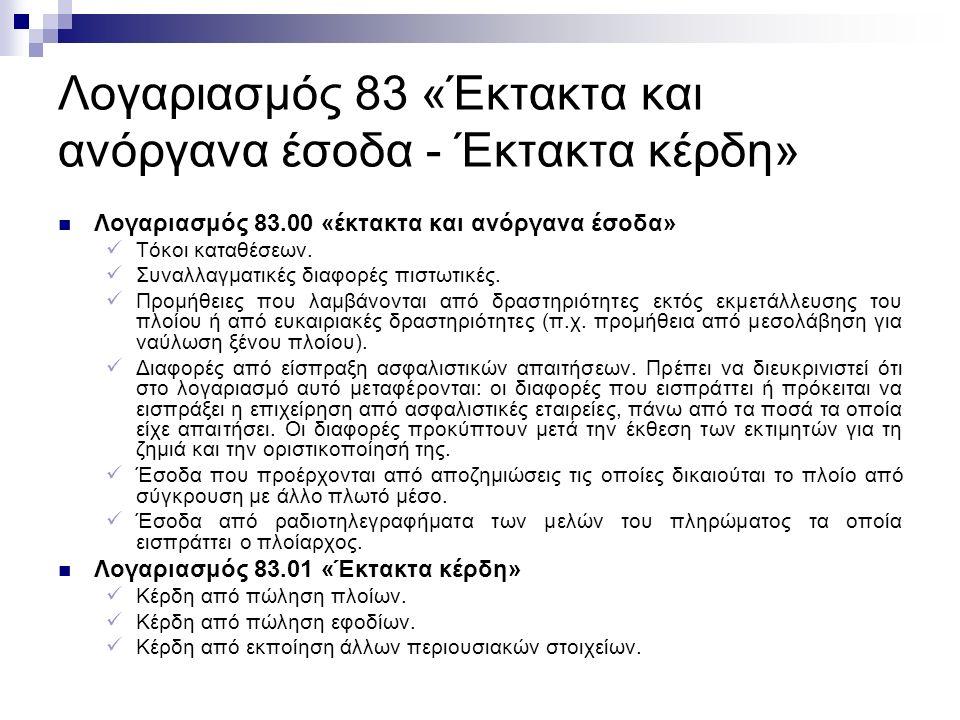 Λογαριασμός 83 «Έκτακτα και ανόργανα έσοδα - Έκτακτα κέρδη» Λογαριασμός 83.00 «έκτακτα και ανόργανα έσοδα» Τόκοι καταθέσεων.