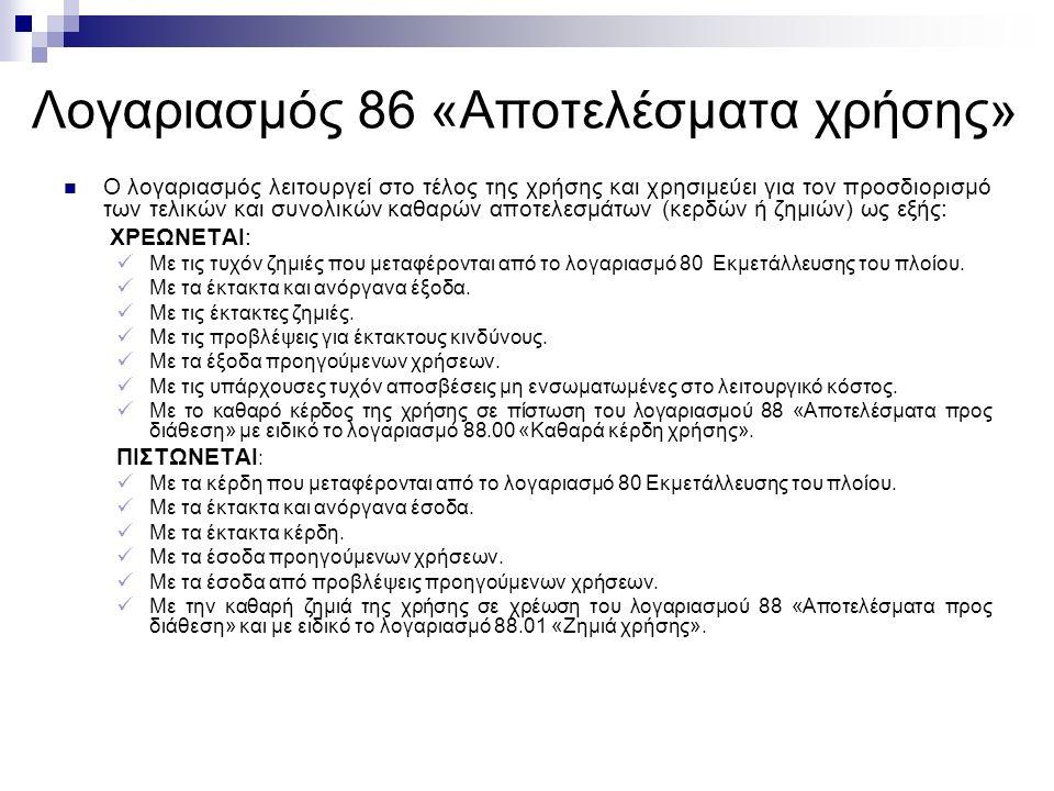 Λογαριασμός 86 «Αποτελέσματα χρήσης» Ο λογαριασμός λειτουργεί στο τέλος της χρήσης και χρησιμεύει για τον προσδιορισμό των τελικών και συνολικών καθαρών αποτελεσμάτων (κερδών ή ζημιών) ως εξής: ΧΡΕΩΝΕΤΑΙ: Με τις τυχόν ζημιές που μεταφέρονται από το λογαριασμό 80 Εκμετάλλευσης του πλοίου.