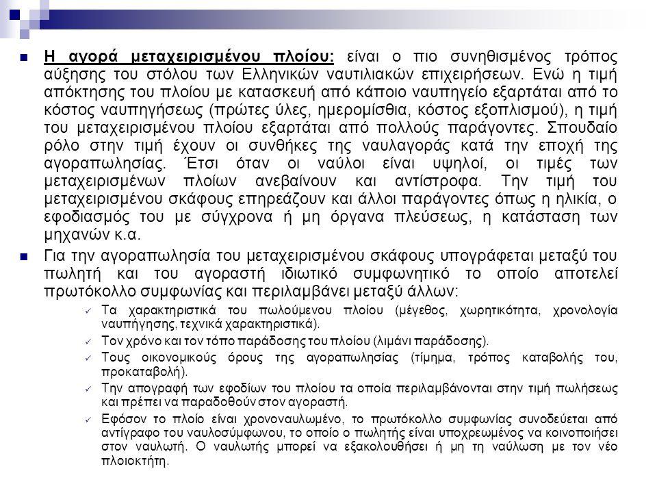 Η αγορά μεταχειρισμένου πλοίου: είναι ο πιο συνηθισμένος τρόπος αύξησης του στόλου των Ελληνικών ναυτιλιακών επιχειρήσεων.