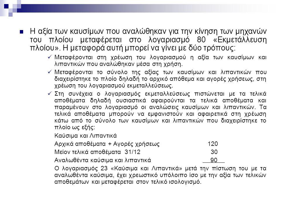 Η αξία των καυσίμων που αναλώθηκαν για την κίνηση των μηχανών του πλοίου μεταφέρεται στο λογαριασμό 80 «Εκμετάλλευση πλοίου».