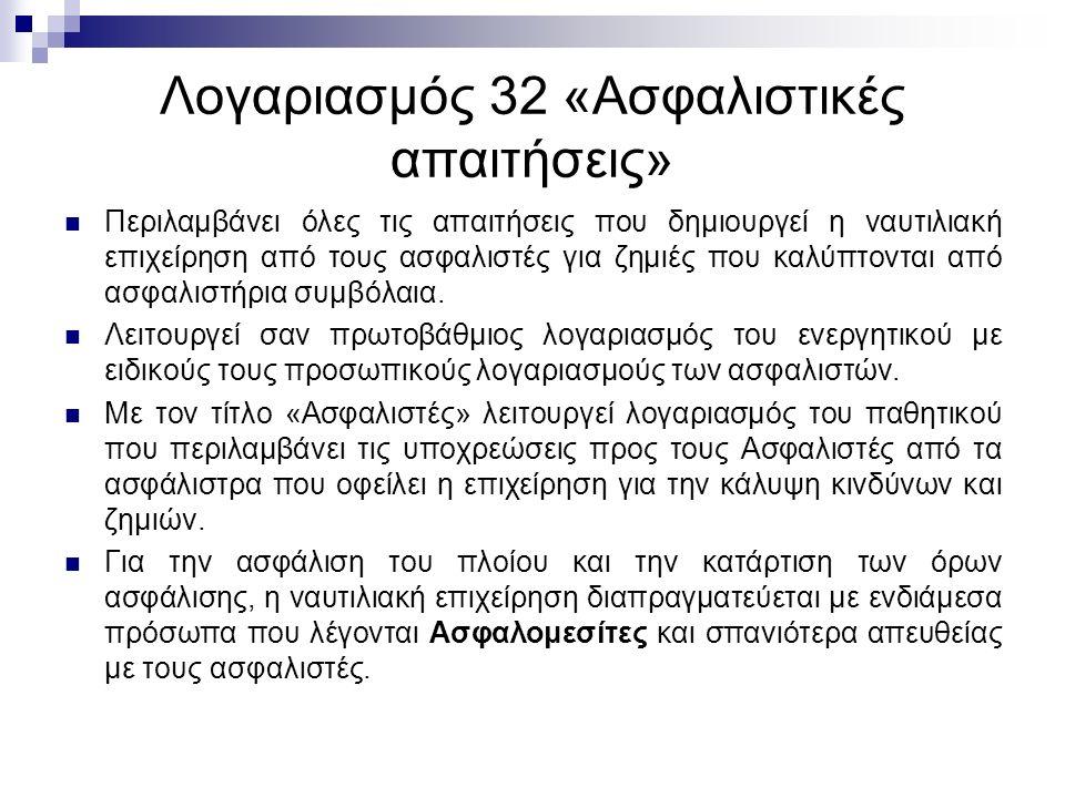 Λογαριασμός 32 «Ασφαλιστικές απαιτήσεις» Περιλαμβάνει όλες τις απαιτήσεις που δημιουργεί η ναυτιλιακή επιχείρηση από τους ασφαλιστές για ζημιές που καλύπτονται από ασφαλιστήρια συμβόλαια.
