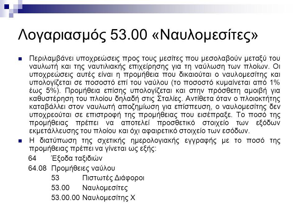 Λογαριασμός 53.00 «Ναυλομεσίτες» Περιλαμβάνει υποχρεώσεις προς τους μεσίτες που μεσολαβούν μεταξύ του ναυλωτή και της ναυτιλιακής επιχείρησης για τη ναύλωση των πλοίων.