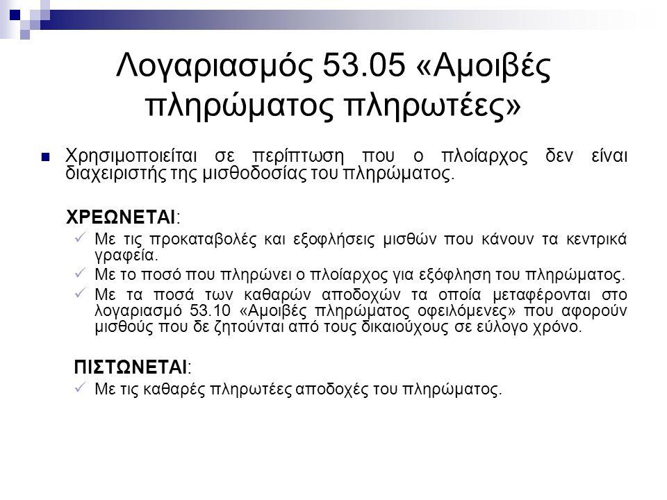 Λογαριασμός 53.05 «Αμοιβές πληρώματος πληρωτέες» Χρησιμοποιείται σε περίπτωση που ο πλοίαρχος δεν είναι διαχειριστής της μισθοδοσίας του πληρώματος.